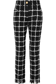 Frayed checked tweed straight-leg pants