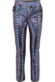 Sequined frayed crepe straight-leg pants