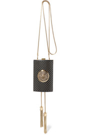 Studded coin-embellished leather minaudière