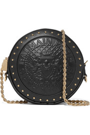 Studded embossed leather shoulder bag