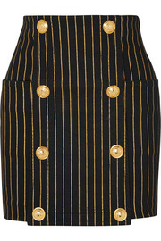 Balmain Button-embellished striped denim mini skirt