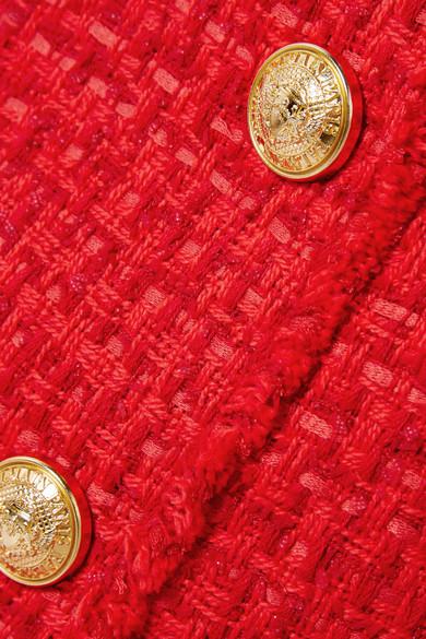 aus Balmain Tweed Tweed Minirock aus mit mit Fransen Balmain Minirock Fransen w070qHBrx