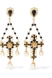 Dolce & Gabbana Gold-plated multi-stone clip earrings