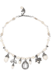 Alexander McQueen Silver-plated, faux pearl, crystal and resin necklace