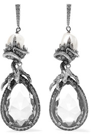 Silver-plated, crystal and faux pearl earrings