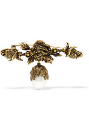 Gold-plated faux pearl brooch