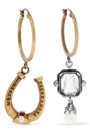 Alexander McQueen Gold and silver-plated crystal and faux pearl hoop earrings