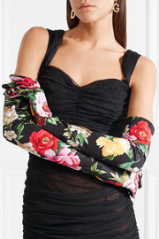 Floral-print stretch-jersey gloves