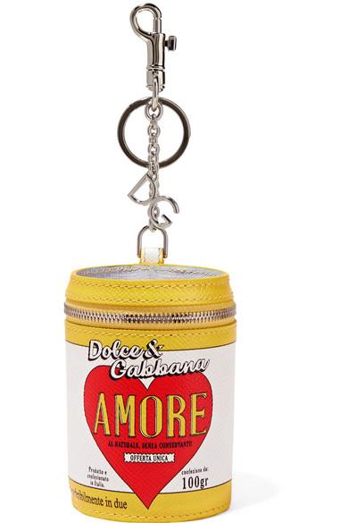 Dolce & Gabbana Bedruckter Schlüsselanhänger aus strukturiertem Leder
