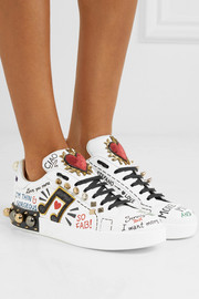 Embellished printed leather sneakers