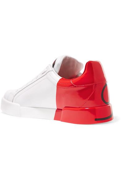 Dolce & Gabbana Sneakers aus Leder mit Logobemalung