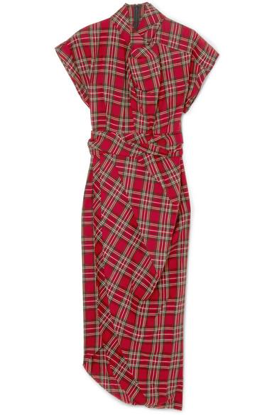 A.W.A.K.E. Midikleid aus Baumwolle mit Tartan-Muster