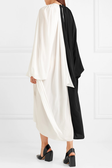 Awake Bicolor Midi Dress In Crêpe De Chine