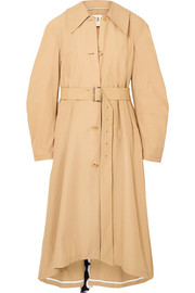 Polka-dot crepe de chine-paneled cotton-blend trench coat