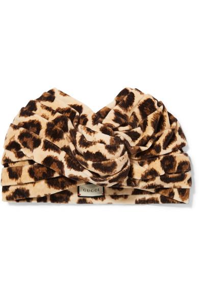 Gucci - Leopard-print Velvet Turban - Leopard print