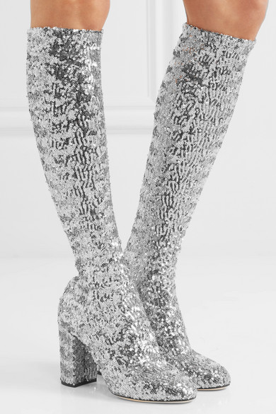 Sequined Mesh Knee Boots - Silver Dolce & Gabbana Shop For Cheap Online Explore Cheap Price z87Kg