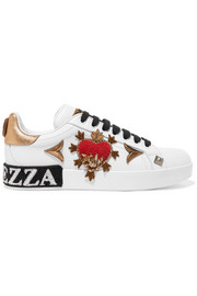 Dolce & Gabbana Appliquéd embellished leather sneakers