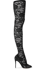 Dolce & Gabbana Stretch-lace thigh sock boots
