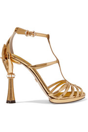 Dolce & Gabbana Embellished mirrored-leather sandals