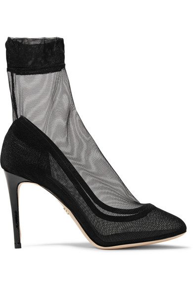 ANKLE BOOTS IN STRETCH TULLE AND PATENT LEATHER