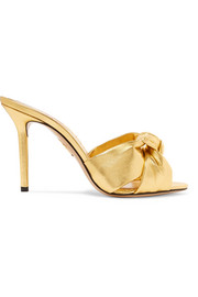 Charlotte Olympia Lola knotted metallic leather mules