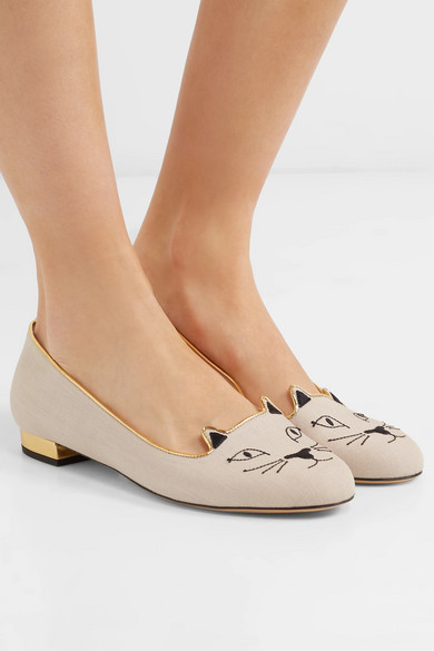 Charlotte Olympia Kitty Slippers Embroidered Canvas