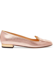 Charlotte Olympia Kitty embroidered metallic leather slippers