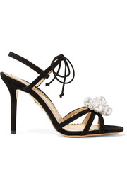 Tallulah faux pearl-embellished suede sandals