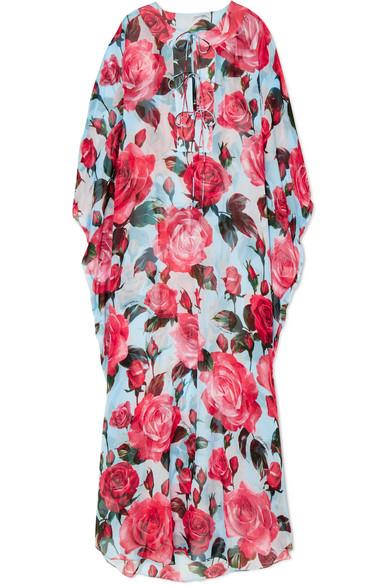 Spielraum Steckdose In Deutschland Dolce & Gabbana Kaftan aus Seidenchiffon mit Blumenprint Steckdose Mit Paypal Um Verkauf 100% Garantiert 6LMWWcRn7z