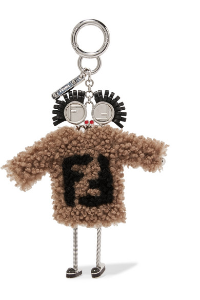 SHEARLING AND LEATHER KEYCHAIN