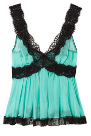 Lace-trimmed silk-blend chiffon camisole