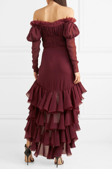 Off-the-shoulder Ruffled Silk-georgette Dress - Burgundy Giambattista Valli Free Shipping Online For Sale Discount Sale Real Online d682CTXr