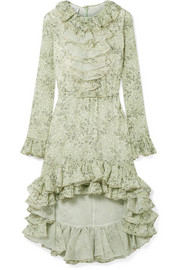 Giambattista Valli Asymmetric ruffled printed silk-georgette dress