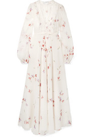 Lace-trimmed floral-print silk-chiffon maxi dress