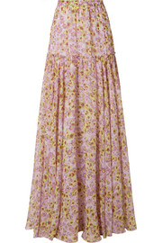 Giambattista Valli Pleated floral-print silk-chiffon maxi skirt