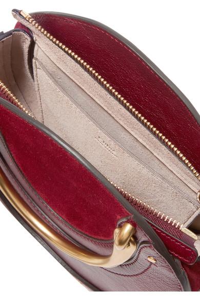 Chloé Pixie Schultertasche aus strukturiertem Leder und Veloursleder