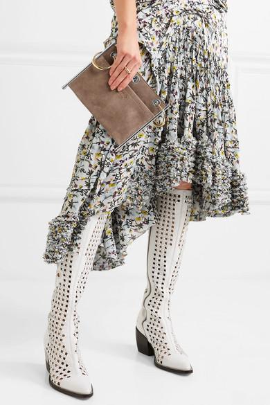 Chloé Roy wandelbare zweifarbige Schultertasche aus Glatt- und Veloursleder
