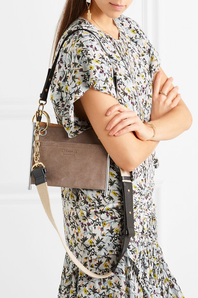 5606cd602bb7 Roy convertible two-tone suede and leather shoulder bag.  1