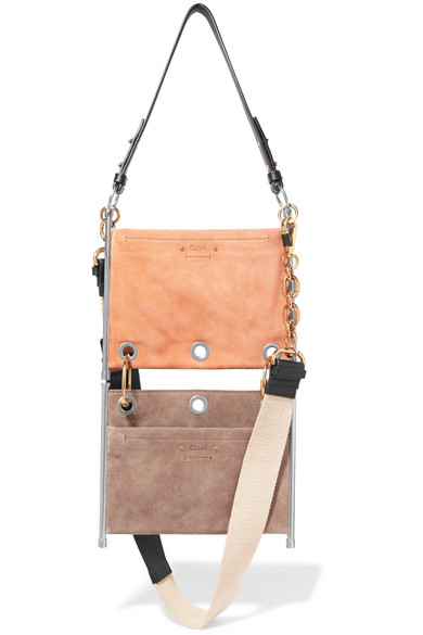 Chloé. Roy convertible two-tone suede and leather shoulder bag 08f534ab3dfb6