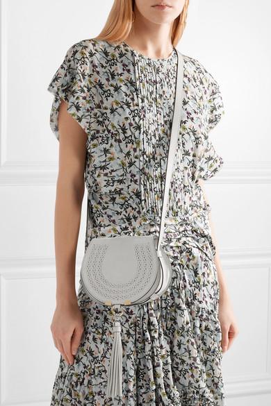 Kaufladen Erschwinglich Zu Verkaufen Chloé Marcie mini Schultertasche aus Veloursleder und strukturiertem Leder mit Details im Überwendlichstich Neue Angebote Footlocker Bilder D7xLOimebK