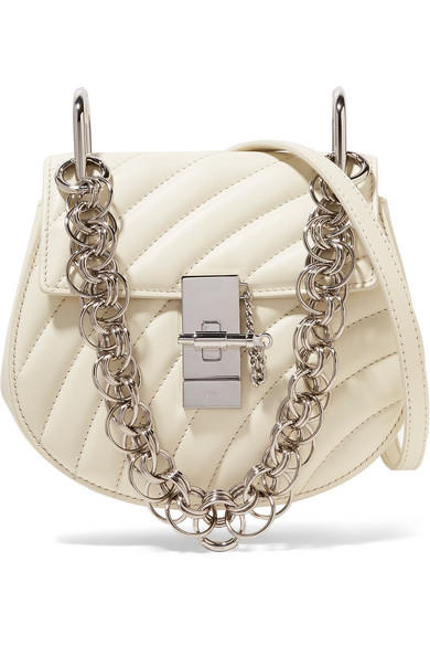 Chloe Mini Drew Bijou Quilted Smooth Calfskin Shoulder Bag In White