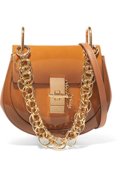Drew Bijou Mini Glossed-Leather Shoulder Bag, Brown