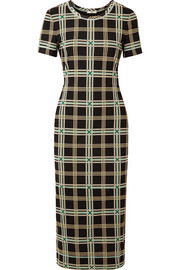 Fendi Checked mesh midi dress
