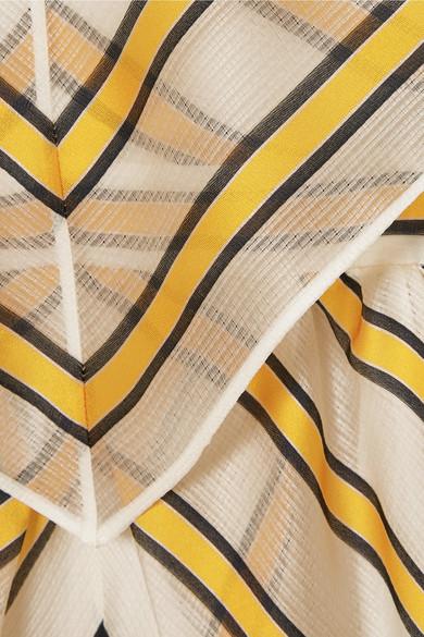 Fendi Minikleid aus Organza aus einer Seidenmischung mit Streifen und Cut-outs in Cape-Optik