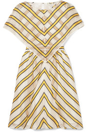 Fendi Cape-effect cutout striped silk-blend organza mini dress