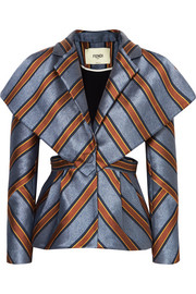 Fendi Cutout striped satin-jacquard blazer