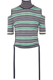 Cold-shoulder striped silk-blend top