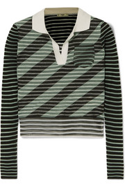 Fendi Cropped striped silk-blend sweater