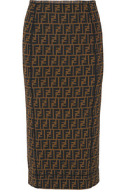 Fendi Printed stretch-mesh pencil skirt