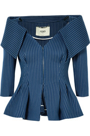 Pinstriped off-the-shoulder cotton-blend twill blazer
